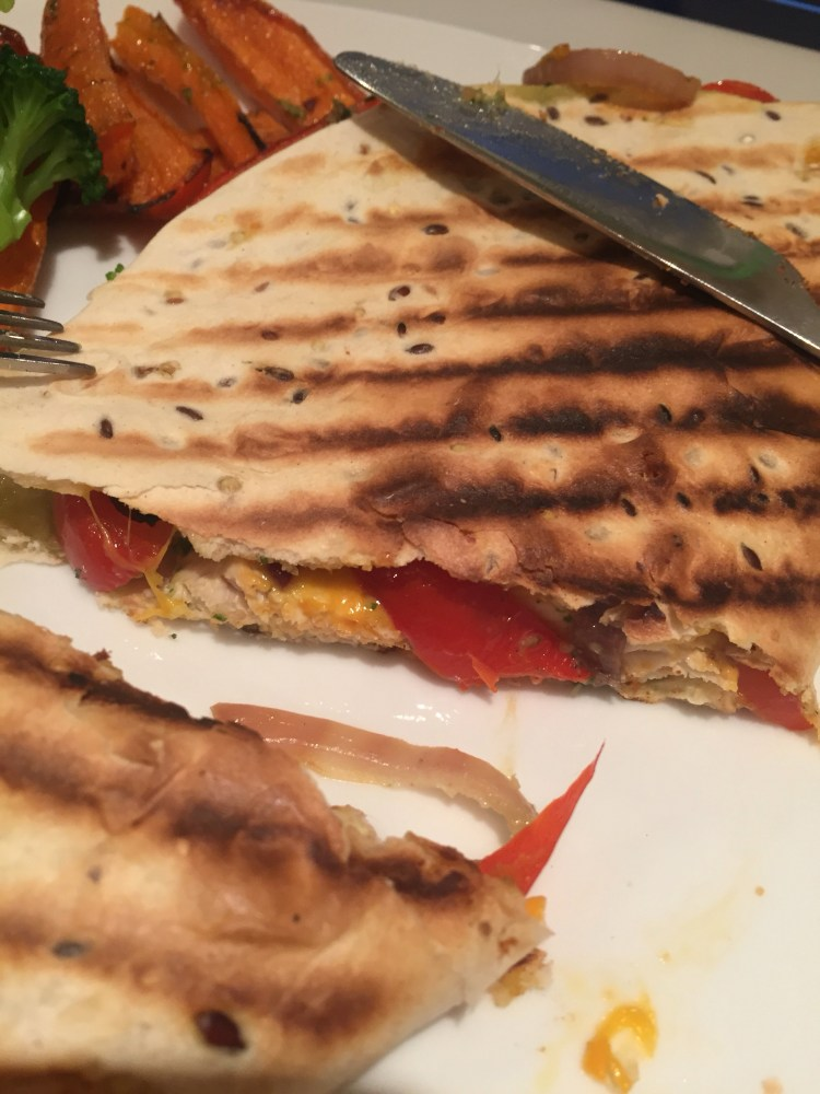 chicken, pepper and cheese  quesadilla