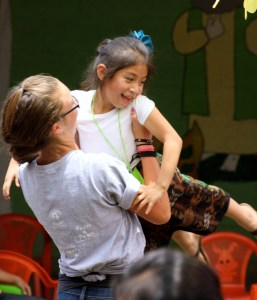 Lydia playing with a girl in Guatemala