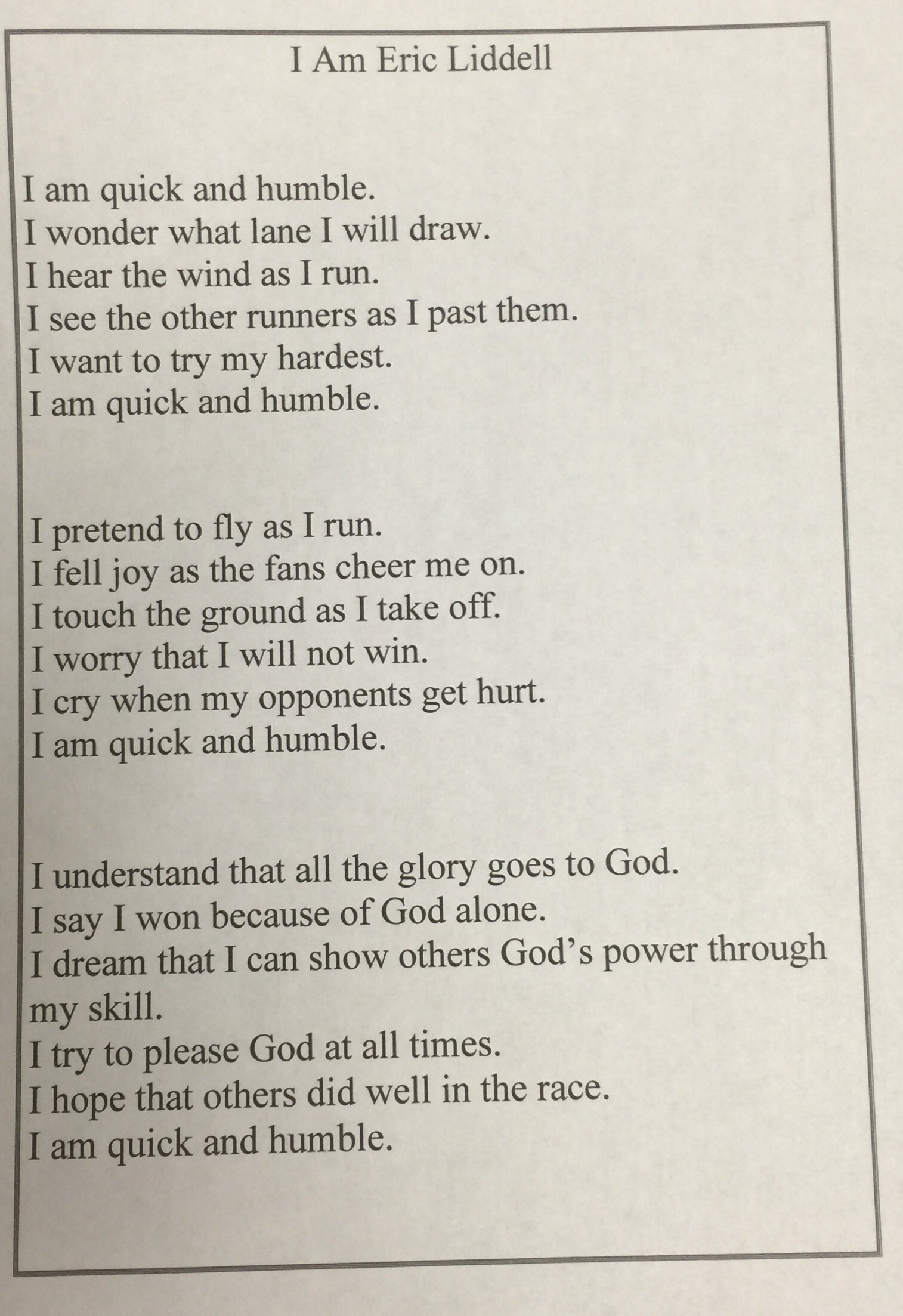 6th Grade Stu S Point Of View Poetry Brook Hill School