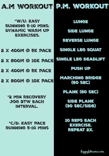 You can workout twice in one day! Get a run in the morning and strength session in the evening. happyfitmama.com