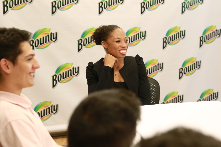 Olympic Sprinter and Gold Medalist Allyson Felix met with a local youth track team during the ÒBounty 2016 Quicker Picker Upper GamesÓ event on Thursday April 28, 2016 in New York. (Photo by Amy Sussman/AP Images for Bounty)
