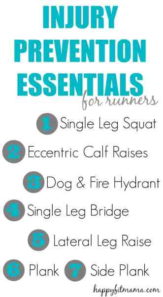 Keep running strong and injury free with these 7 essential injury prevention exercises for runners. happyfitmama.com