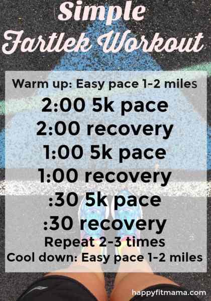 Pick up the pace with this simple Fartlek Workout to increase your running speed. happyfitmama.com