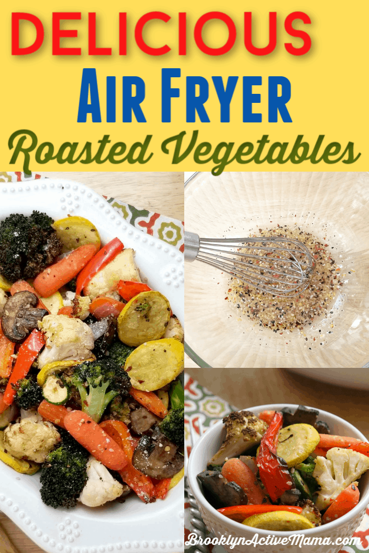 Super easy and delicious air fryer roasted vegetables that can be made super fast for dinner in under 20 minutes! #healthyrecipe #vegetables #healthyeats