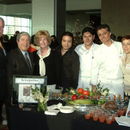 Luz, a Latin Cuisine with (left to right) Robert Howe, Marty Markowitz, Diana Howe, Pedro Munoz, Raul Lema, Chef Jorge Adriozo, and Vivian Torres. - Brooklyn Archive