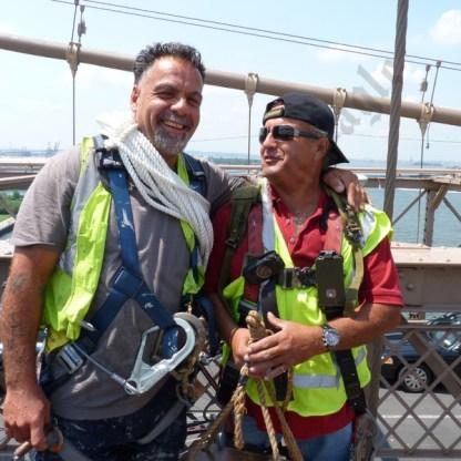 Bridge painters Nick Krevatas and Caesar Vasmino. - Brooklyn Archive
