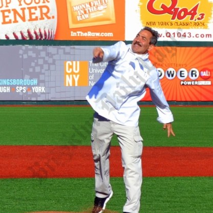 Larry Thomas, better known as the Soup Nazi, throws the first pitch. - Brooklyn Archive