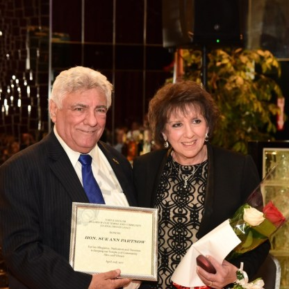 King's County Democratic Party Chair Frank Seddio with honoree Sue Ann Partnow. - Brooklyn Archive