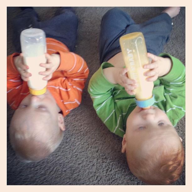 twins feeding bottles