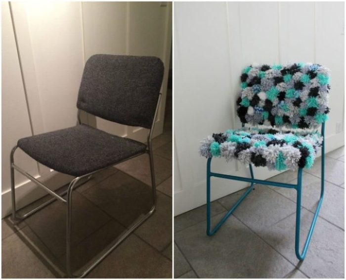 Before and after - teal, grey, white and blue pom pom chair makeover