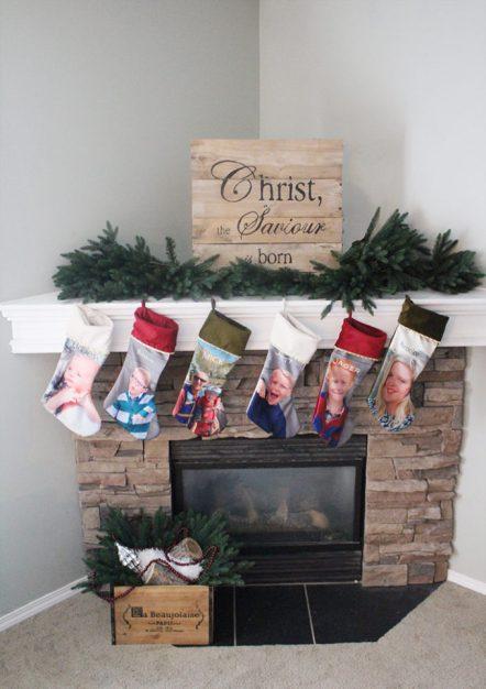 Christmas Mantle - Photo Stockings