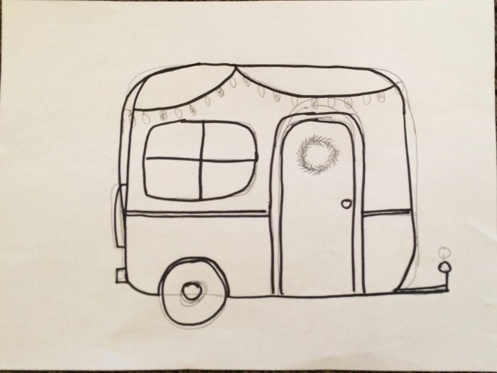 camper template for wood christmas sign