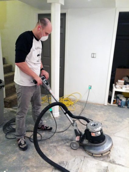 Basement flooring demolition how to remove tile from for How to clean concrete dust from floors