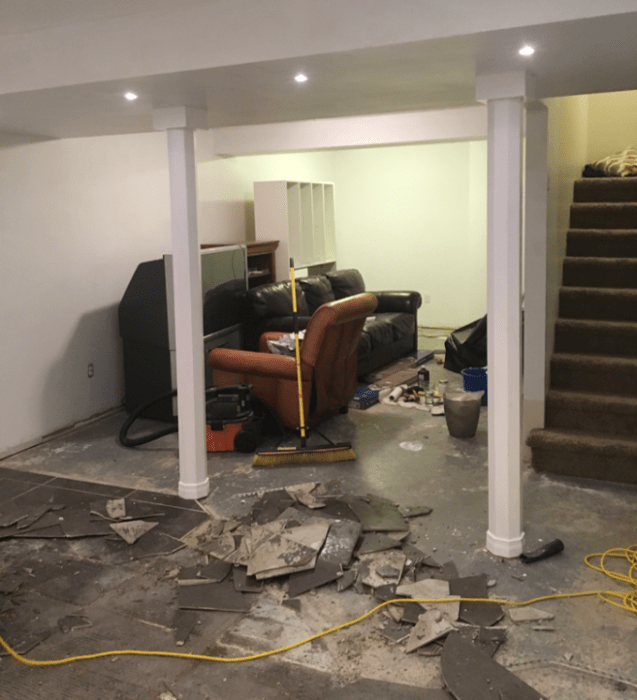 basement flooring demolition how to remove tile from concrete