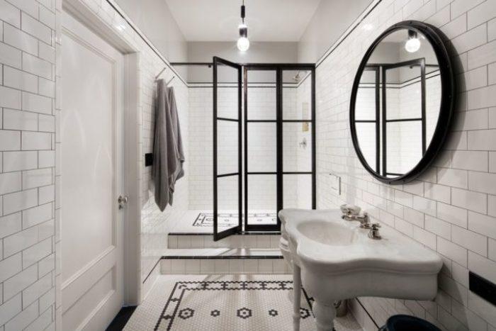 Vintage Modern bathroom designs in Meg Ryans Soho Loft