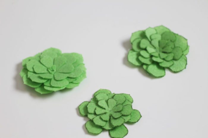 Felt succulents cut on Cricut Maker
