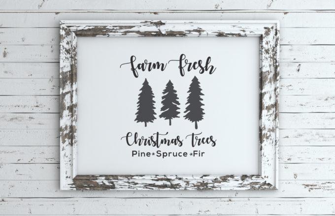 Farm Fresh Christmas Tree Sign Free SVG