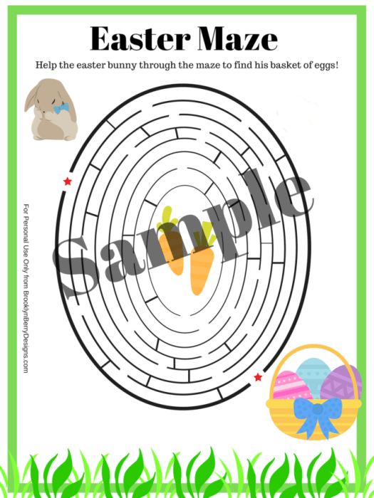 Free printable activity pages - Get this free printable easter maze at BrooklynBerryDesigns.com