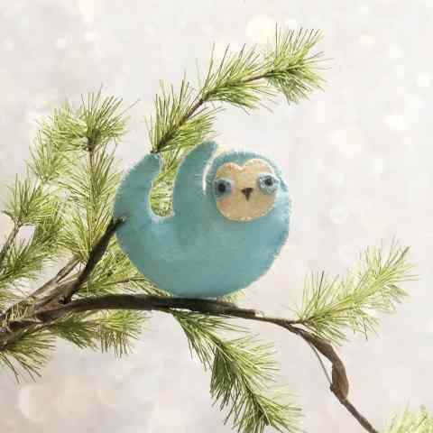 blue felt diy sloth ornament