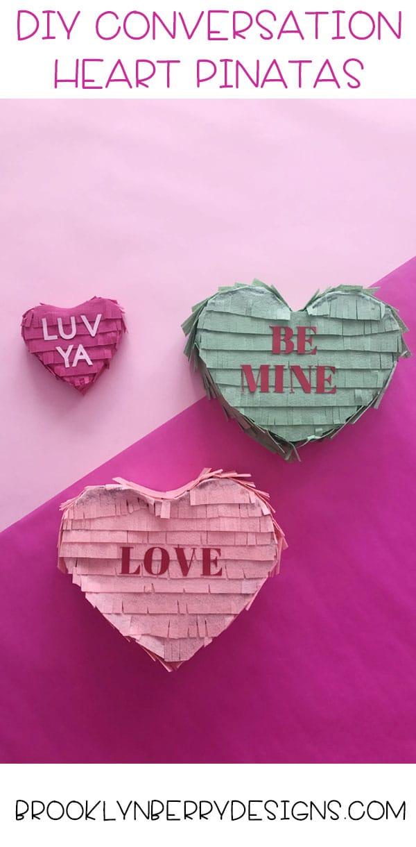 Conversation Heart Pinata – Easy Valentines Craft via @brookeberry