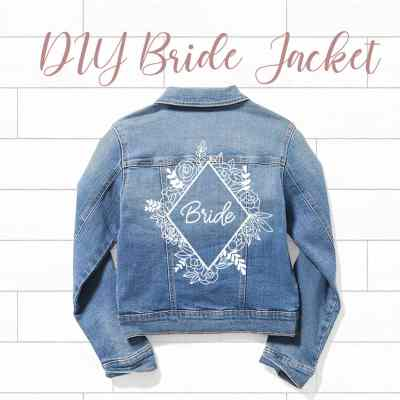 Bride denim jacket - floral frame wedding svg