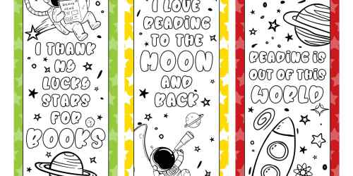 SPACE BOOKMARK COLORING