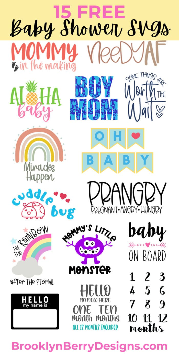 15 free Baby SVG files for the mama to be or newborn baby in your life.