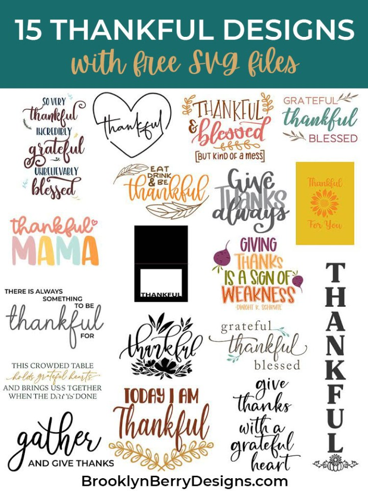Thankful Svg : thankful, Thankful, Files, Brooklyn, Berry, Designs