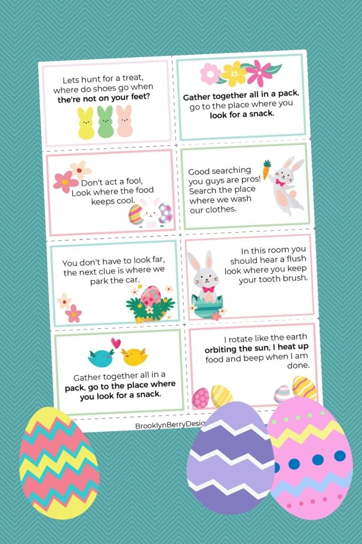 printable indoor scavenger hunt for easter baskets