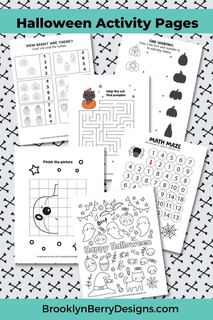 Download, print and play with these free printable Kids Halloween Activity Pages. They include color by number, mazes, and more! via @brookeberry