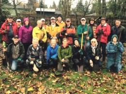 Wet but satisfied planting volunteers!