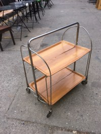 WOOD COLLAPSABLE BAR CART