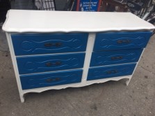 MID CENTURY FRENCH PROVINCIAL PAINTED WIDE DRESSER