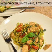 """zucchini """"pasta"""" with chicken, white wine, & tomatoes"""
