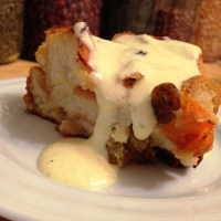 Apricot Bread Pudding with Almond Cream