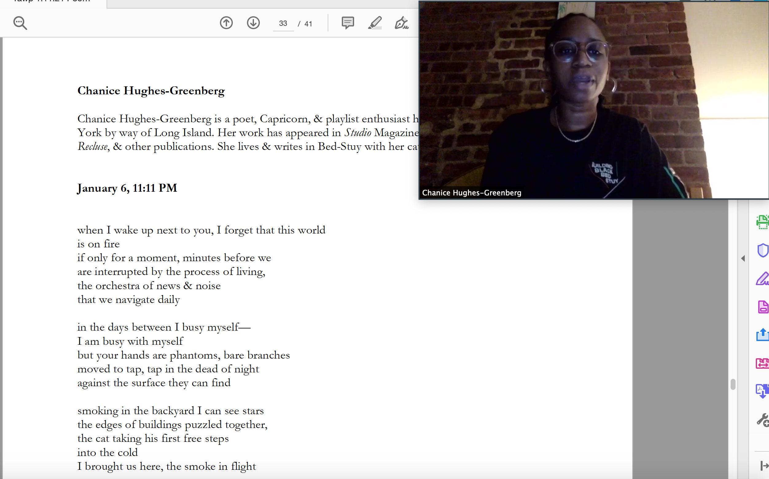 Chanice Hughes-Greenberg reads at the Yawp