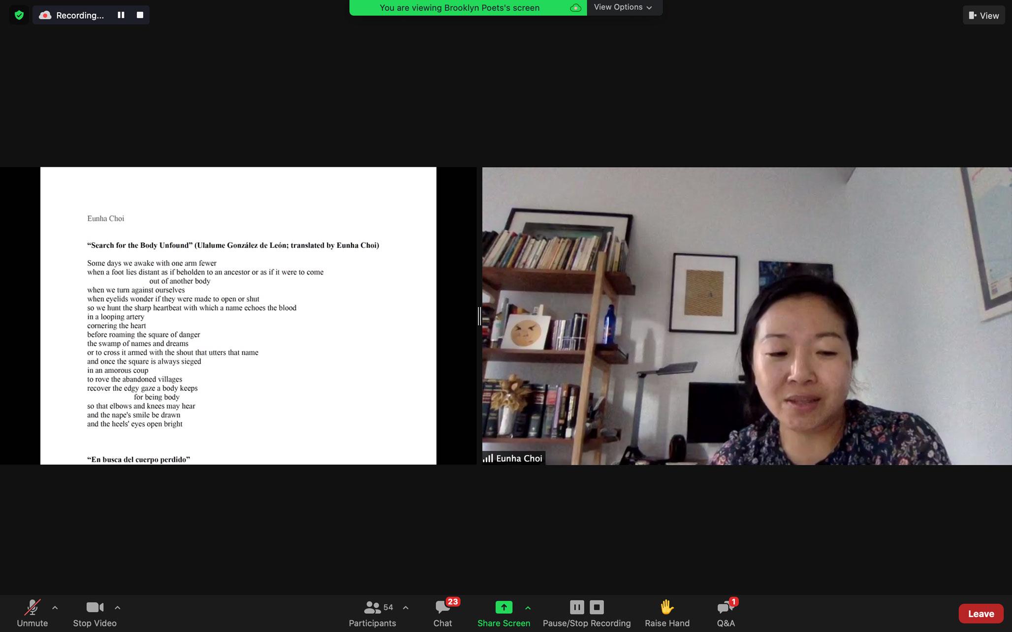 Eunha Cho reads at Brooklyn Poets Workshop Showcase
