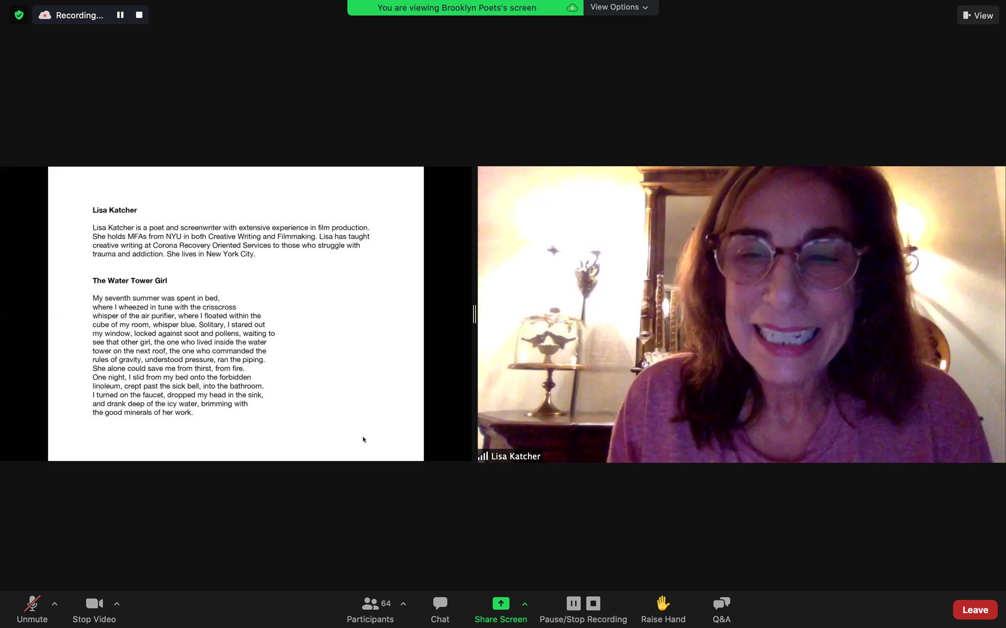 Lisa Katcher reads at Brooklyn Poets Workshop Showcase