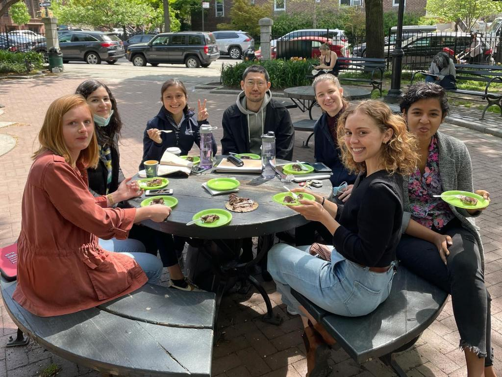 Birthday celebration with cake in Cobble Hill Park
