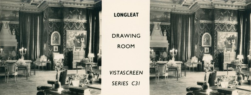 A VistaScreen stereoview of the drawing room of Longleat, a huge estate house.