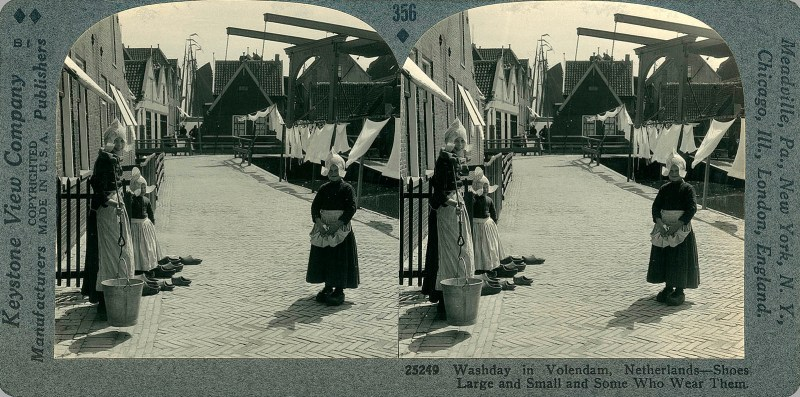 Washday in Volendam, Netherlands - Shoes Large and Small and Some Who Wear Them