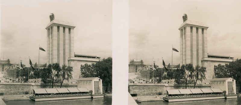 A view dominated by the German Pavilion at the 1937 Paris Expo. N.B. Brooklyn Stereography does not condone Nazism in any form!