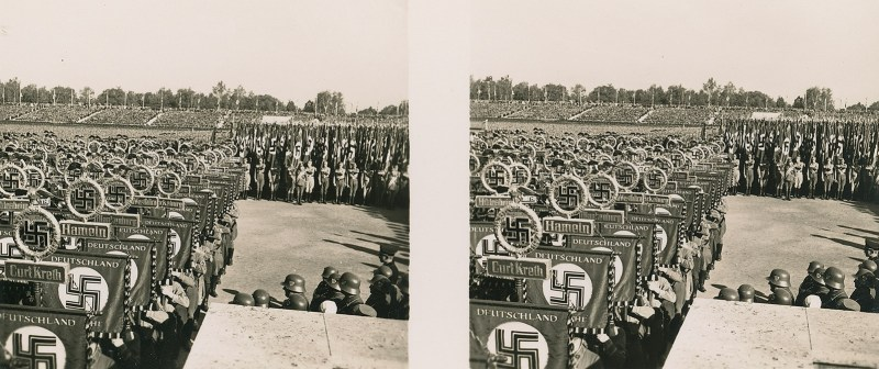 A small part of the huge crowd at Nuremberg - all looking pretty much the same. N.B. Brooklyn Stereography does not condone Nazism in any form.