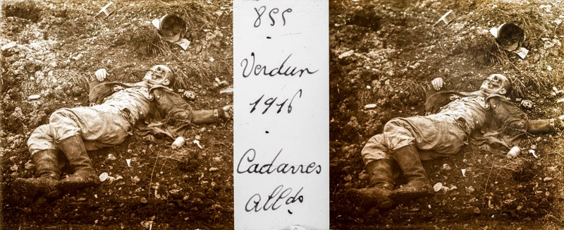 A Brentano's stereoview of a dead German soldier