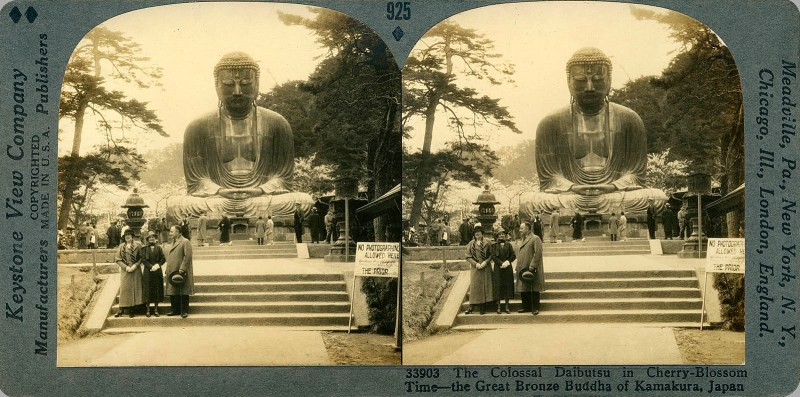 The Colossal Daibutsu in Cherry-Blossom Time--the Great Bronze Buddha of Kamakura, Japan