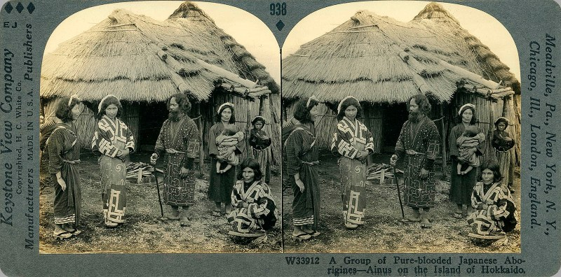 A Group of Pure-blooded Japanese Aborigines--Ainus on the Island of Hokkaido.