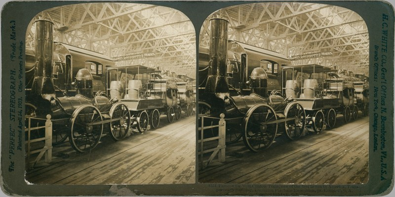 Locomotive stereoview found in Strasburg