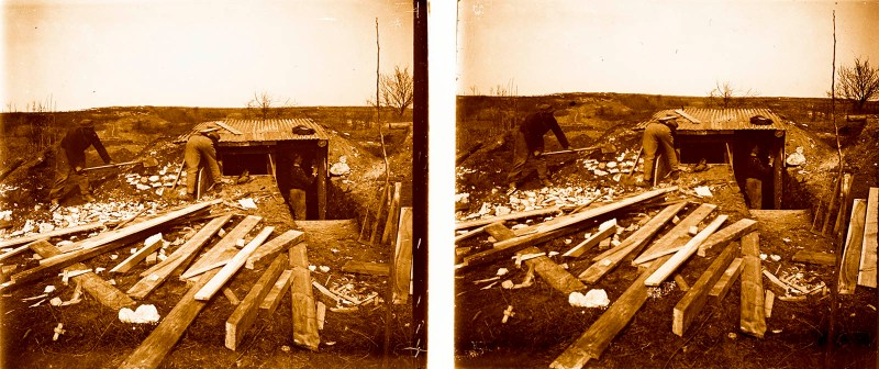 European amateur glass stereoview depicting the construction of an aid station or dugout