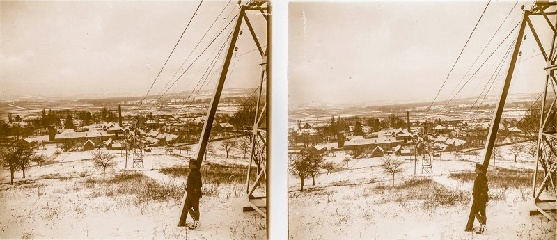 European amateur glass stereoview depicting a solitary soldier next to power lines