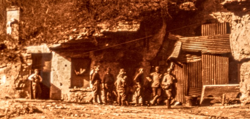 A detail from the above amateur glass stereoview, featuring a band of soldiers at their outpost.